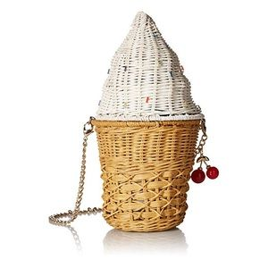 Betsey Johnson Wicker Ice Cream Cone Purse Bag